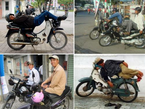 "Use motor-bike taxi ""Xe om"" when travel in Vietnam"