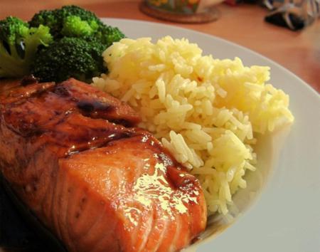 How to cook Salmon rice with Teriyaki sauce