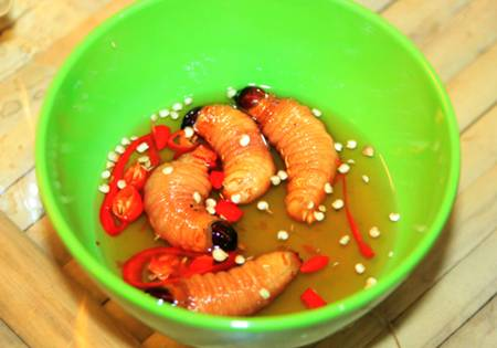 Coconut worms dish in Vietnam 2